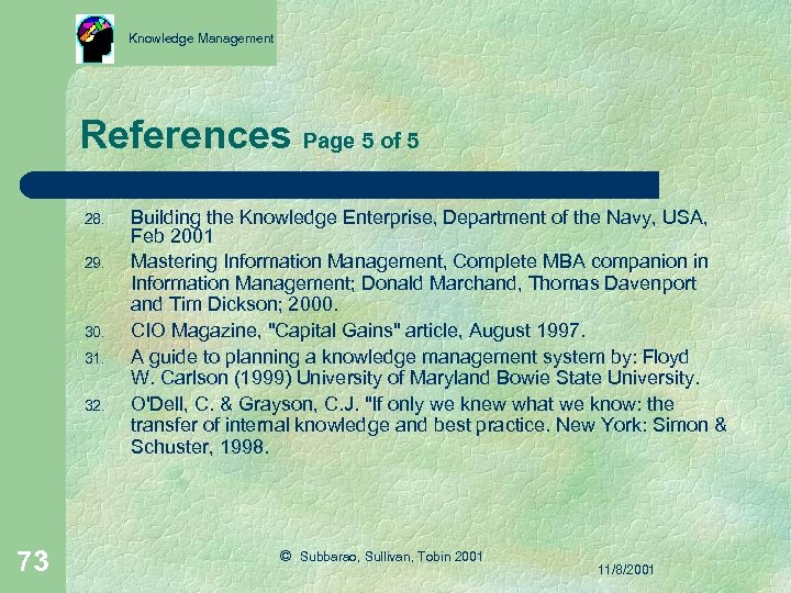 Knowledge Management References Page 5 of 5 28. 29. 30. 31. 32. 73 Building