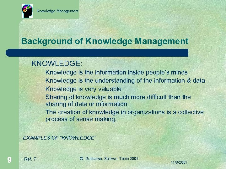 Knowledge Management Background of Knowledge Management KNOWLEDGE: Knowledge is the information inside people's minds
