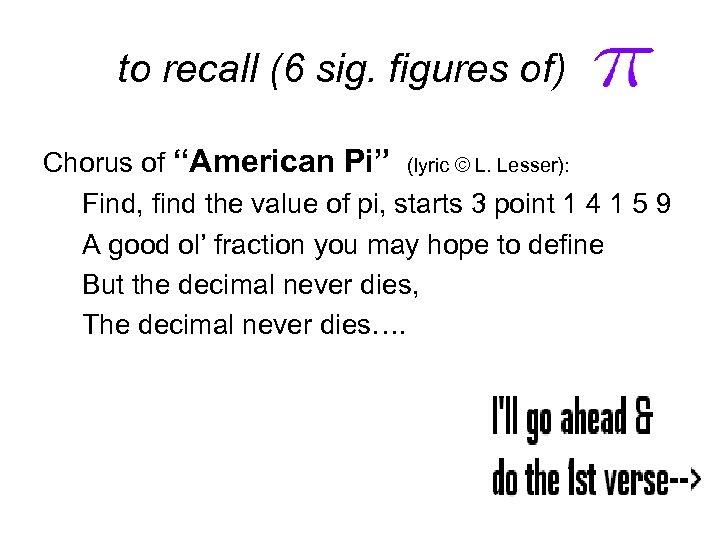 "to recall (6 sig. figures of) Chorus of ""American Pi"" (lyric © L. Lesser):"