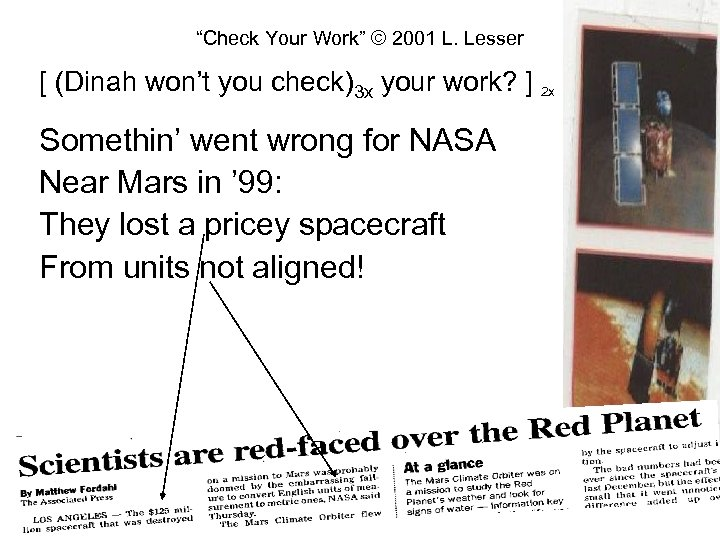 """""""Check Your Work"""" © 2001 L. Lesser [ (Dinah won't you check)3 x your"""