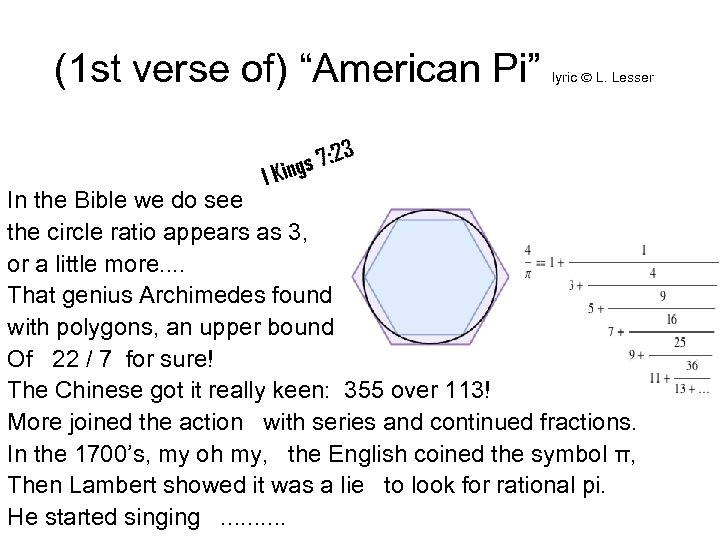 """(1 st verse of) """"American Pi"""" lyric L. Lesser In the Bible we do"""