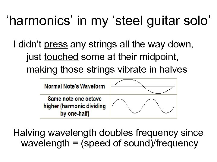 'harmonics' in my 'steel guitar solo' I didn't press any strings all the way