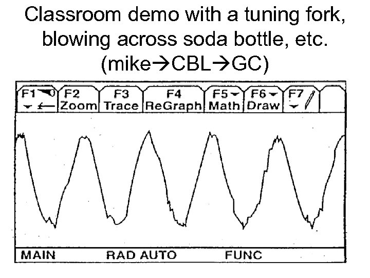 Classroom demo with a tuning fork, blowing across soda bottle, etc. (mike CBL GC)