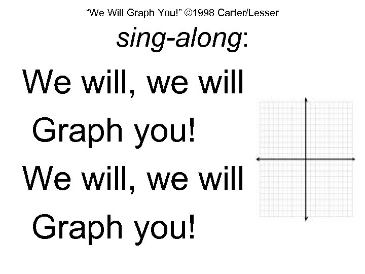 """""""We Will Graph You!"""" © 1998 Carter/Lesser sing-along: We will, we will Graph you!"""