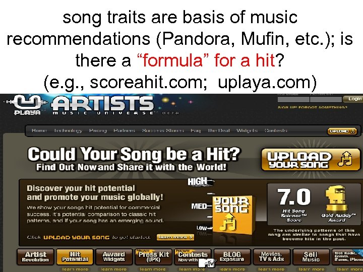 song traits are basis of music recommendations (Pandora, Mufin, etc. ); is there a
