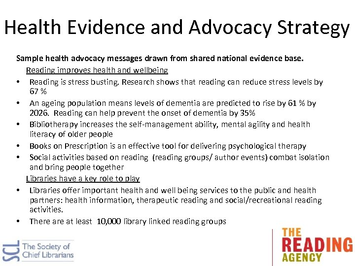 Health Evidence and Advocacy Strategy Sample health advocacy messages drawn from shared national evidence