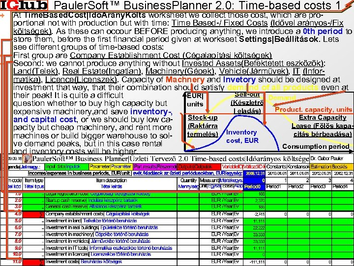 Pauler. Soft™ Business. Planner 2. 0: Time-based costs 1 At Time. Based. Cost|IdőArány. Költs