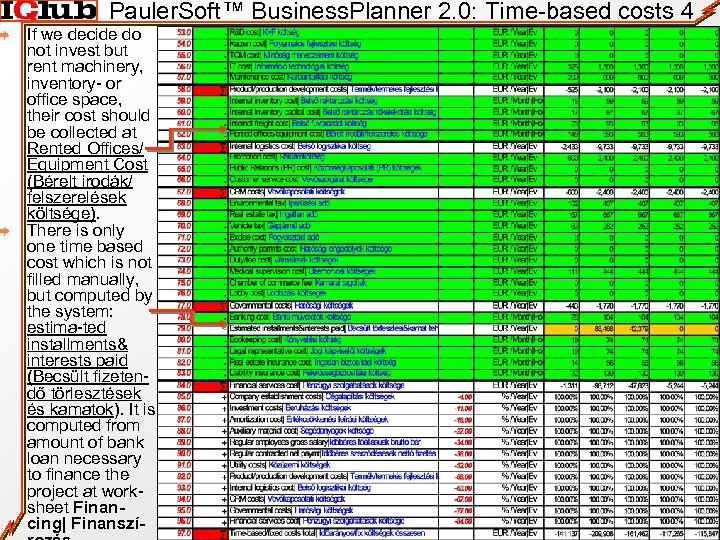 Pauler. Soft™ Business. Planner 2. 0: Time-based costs 4 If we decide do not