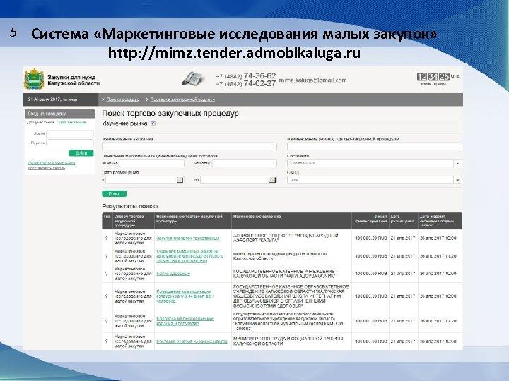 5 Система «Маркетинговые исследования малых закупок» http: //mimz. tender. admoblkaluga. ru