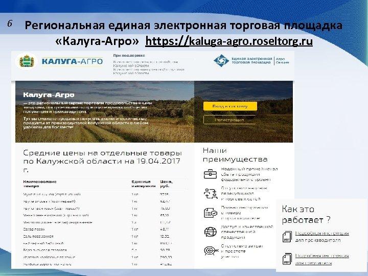 6 Региональная единая электронная торговая площадка «Калуга-Агро» https: //kaluga-agro. roseltorg. ru