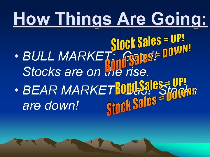 How Things Are Going: • BULL MARKET: Good! Stocks are on the rise. •