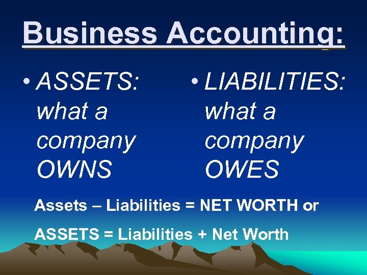 Business Accounting: • ASSETS: what a company OWNS • LIABILITIES: what a company OWES