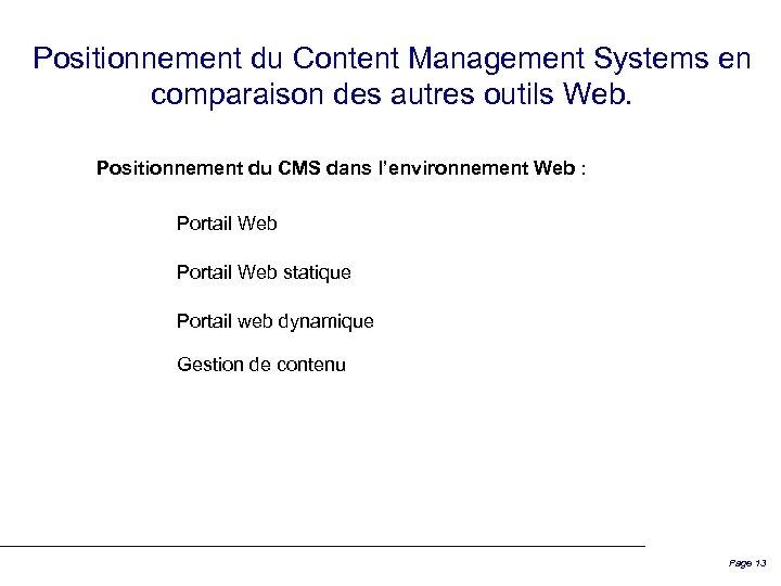 Positionnement du Content Management Systems en comparaison des autres outils Web. Positionnement du CMS