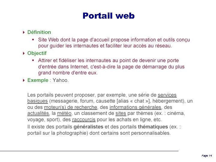 Portail web Page 14