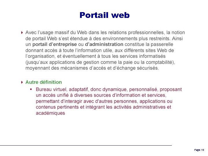 Portail web Page 15