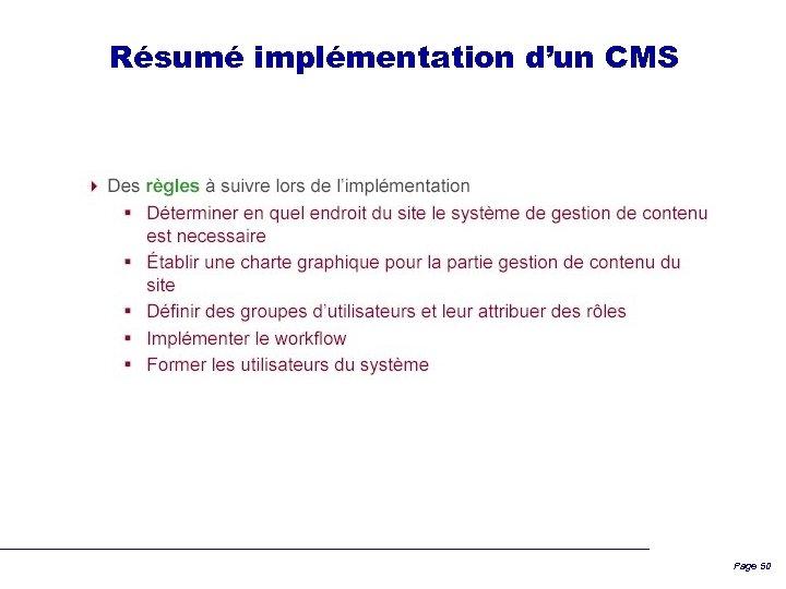 Résumé implémentation d'un CMS Page 50