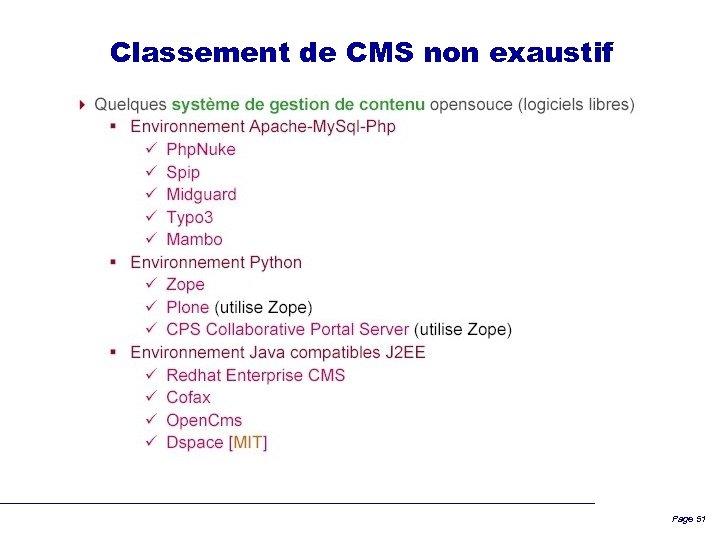 Classement de CMS non exaustif Page 51