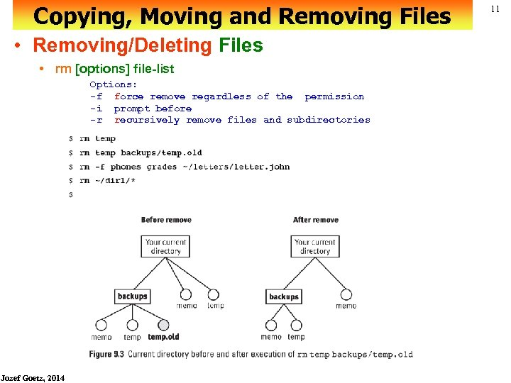 Copying, Moving and Removing Files • Removing/Deleting Files • rm [options] file-list Options: -f
