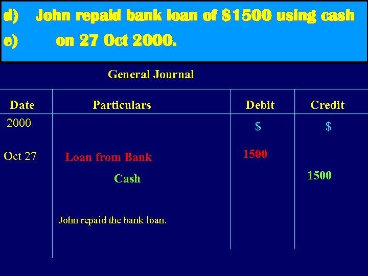 d) e) John repaid bank loan of $1500 using cash on 27 Oct 2000.