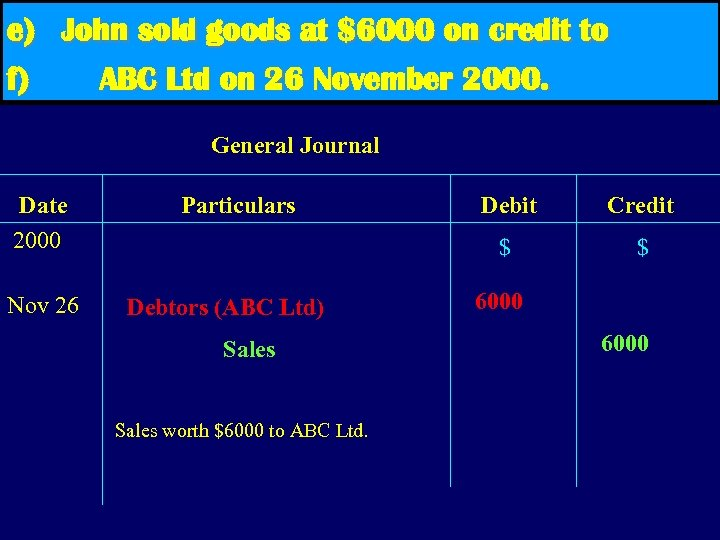 e) John sold goods at $6000 on credit to f) ABC Ltd on 26