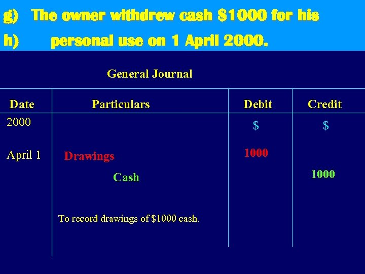 g) The owner withdrew cash $1000 for his h) personal use on 1 April