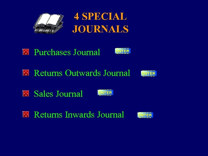 4 SPECIAL JOURNALS Purchases Journal Returns Outwards Journal Sales Journal Returns Inwards Journal