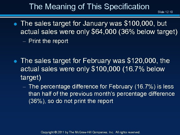 The Meaning of This Specification l Slide 12. 10 The sales target for January