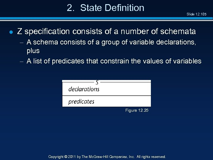 2. State Definition l Slide 12. 105 Z specification consists of a number of