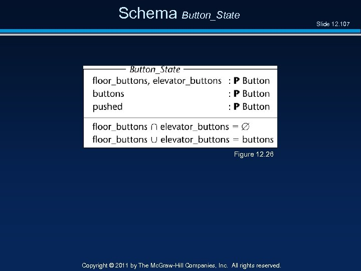 Schema Button_State Figure 12. 26 Copyright © 2011 by The Mc. Graw-Hill Companies, Inc.
