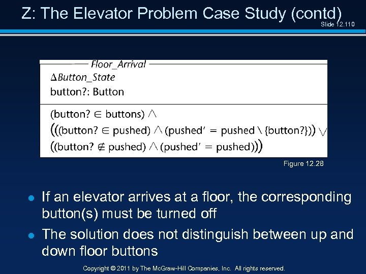 Z: The Elevator Problem Case Study (contd) Slide 12. 110 Figure 12. 28 l