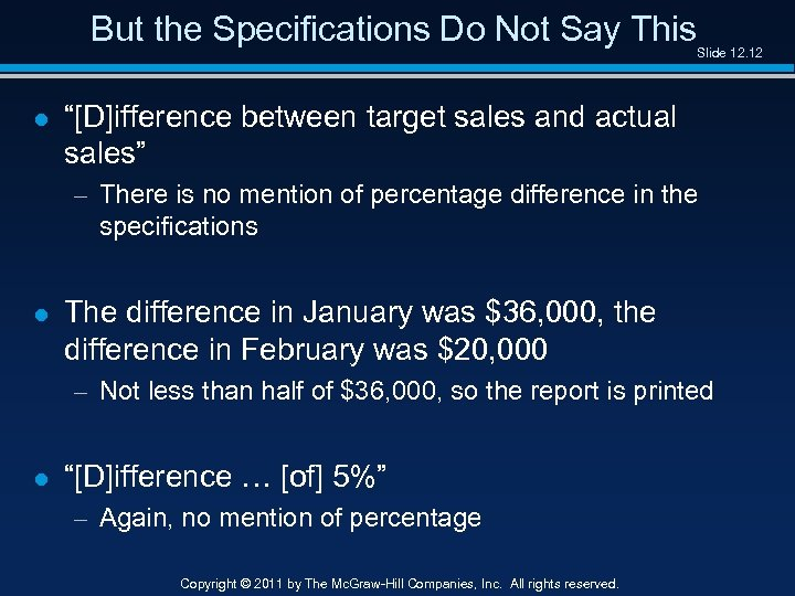 "But the Specifications Do Not Say This Slide 12. 12 l ""[D]ifference between target"