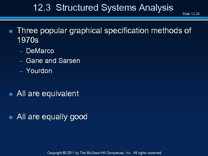 12. 3 Structured Systems Analysis l Slide 12. 24 Three popular graphical specification methods