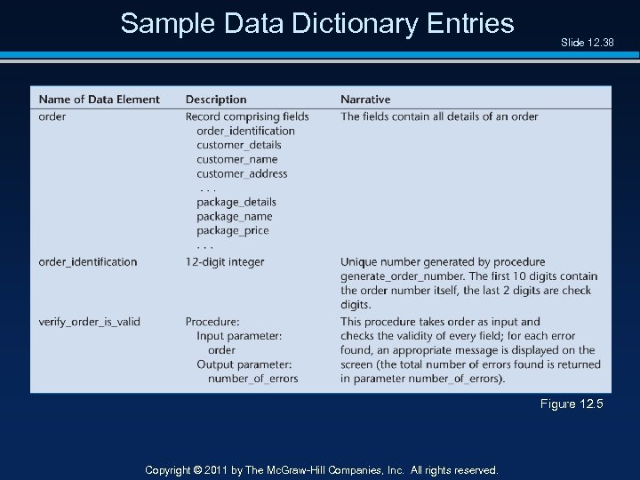 Sample Data Dictionary Entries Slide 12. 38 Figure 12. 5 Copyright © 2011 by