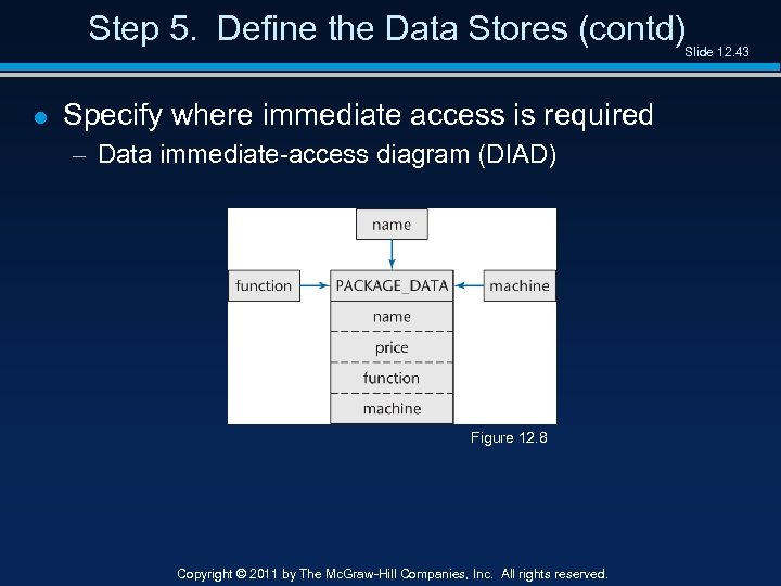 Step 5. Define the Data Stores (contd) Slide 12. 43 l Specify where immediate