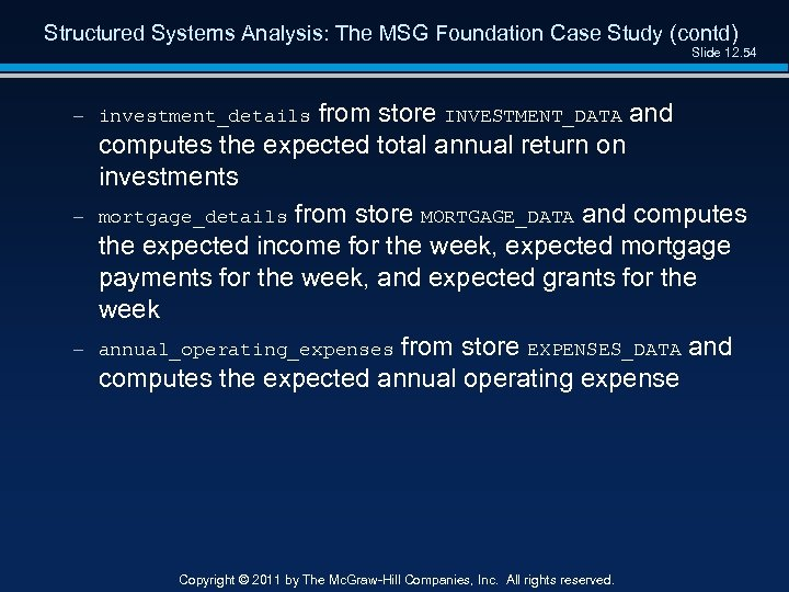 Structured Systems Analysis: The MSG Foundation Case Study (contd) Slide 12. 54 – investment_details