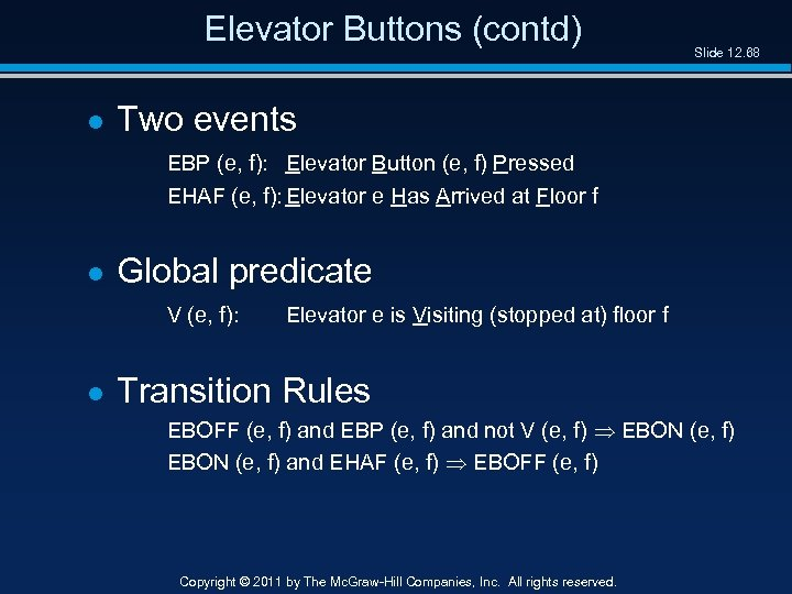 Elevator Buttons (contd) l Slide 12. 68 Two events EBP (e, f): Elevator Button
