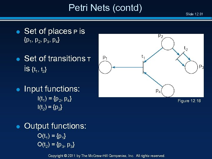 Petri Nets (contd) l Slide 12. 81 Set of places P is {p 1,