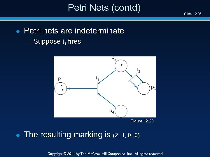 Petri Nets (contd) l Petri nets are indeterminate – Suppose t 1 fires Figure