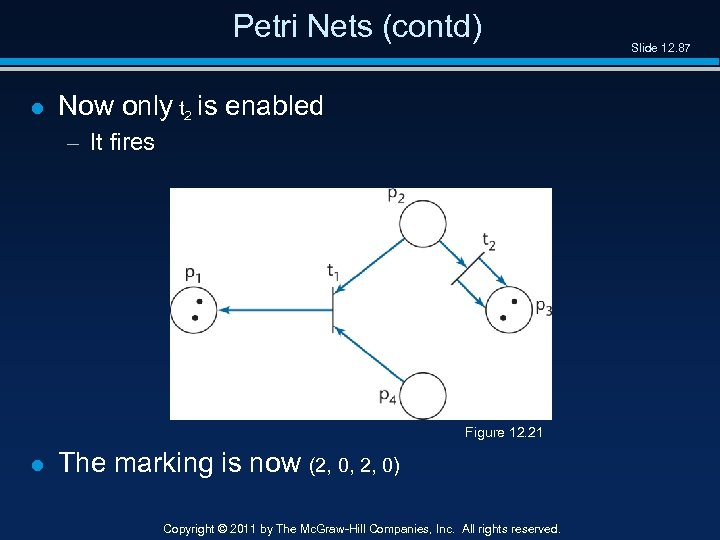 Petri Nets (contd) l Now only t 2 is enabled – It fires Figure