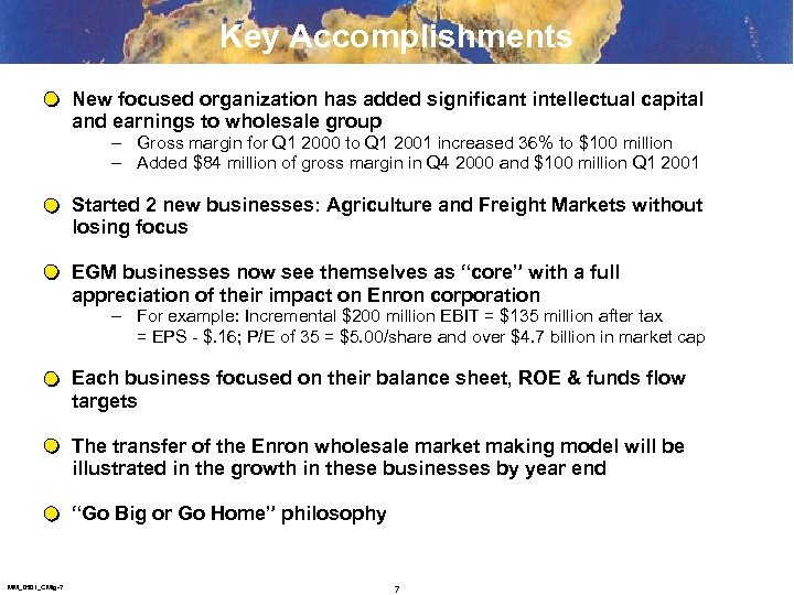 Key Accomplishments New focused organization has added significant intellectual capital and earnings to wholesale