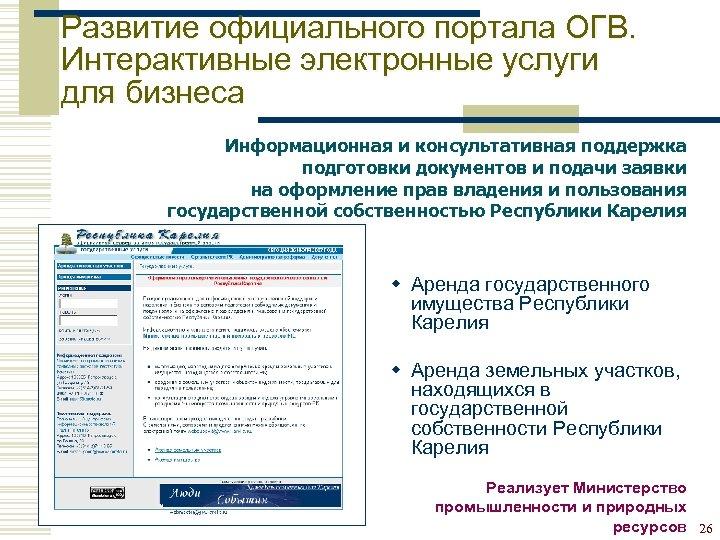 Развитие официального портала ОГВ. Интерактивные электронные услуги для бизнеса Информационная и консультативная поддержка подготовки