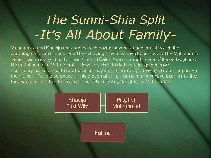 The Sunni-Shia Split -It's All About Family. Muhammad and Khadija are credited with having