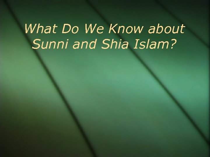 What Do We Know about Sunni and Shia Islam?