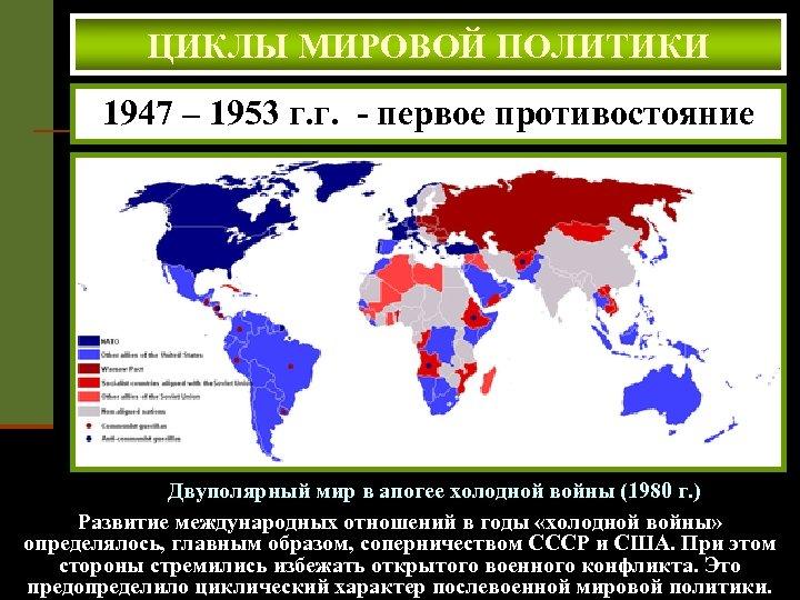 ЦИКЛЫ МИРОВОЙ ПОЛИТИКИ 1947 – 1953 г. г. - первое противостояние Двуполярный мир в