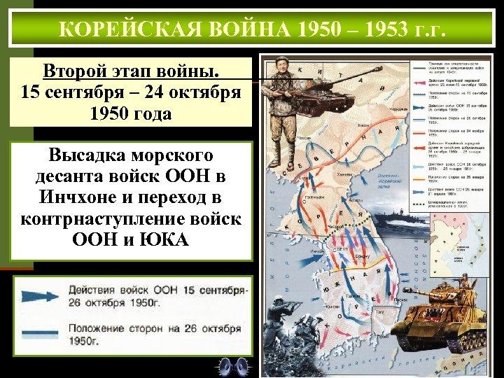 КОРЕЙСКАЯ ВОЙНА 1950 – 1953 г. г. Второй этап войны. 15 сентября – 24