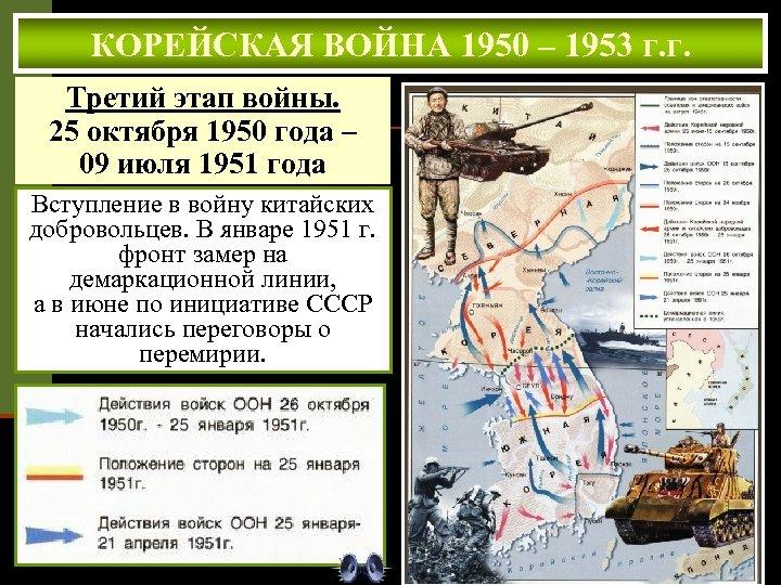 КОРЕЙСКАЯ ВОЙНА 1950 – 1953 г. г. Третий этап войны. 25 октября 1950 года