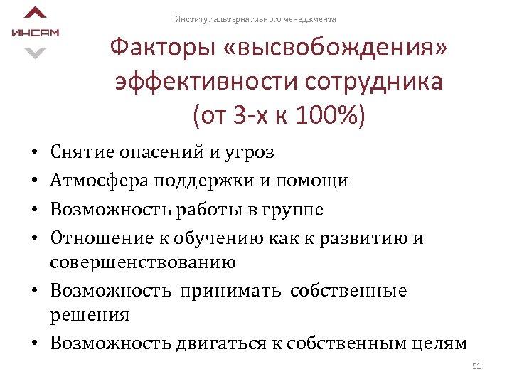 Институт альтернативного менеджмента Факторы «высвобождения» эффективности сотрудника (от 3 -х к 100%) Снятие опасений