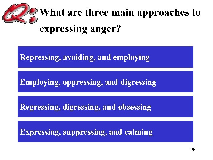 What are three main approaches to expressing anger? Repressing, avoiding, and employing Employing, oppressing,