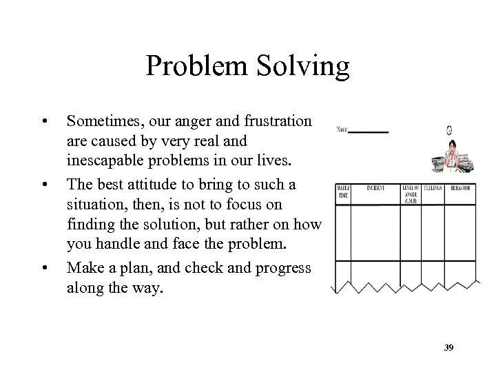 Problem Solving • • • Sometimes, our anger and frustration are caused by very