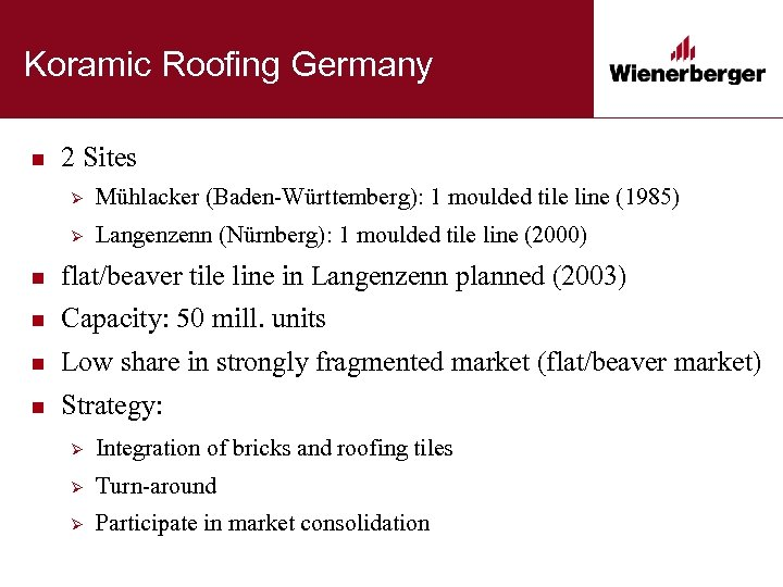 Koramic Roofing Germany n 2 Sites Ø Mühlacker (Baden-Württemberg): 1 moulded tile line (1985)